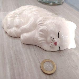 Sleeping Kitty Cat Ceramic Decor White Crazing